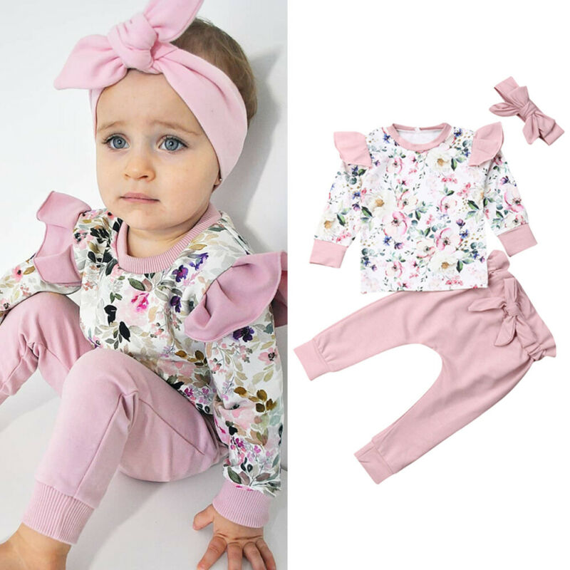 Baby Girl Clothing Set Pullover Set Sweet Infant Baby Girl Clothes Long Sleeve Flower Tops+pants 3pcs Outfit Autumn 0-24 Months