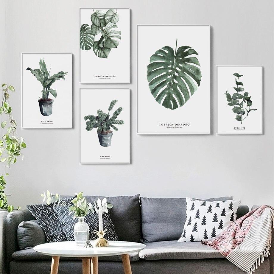 Planta monstera maranta folhas nordic posters e cópias da parede arte da lona quadros parede para sala de estar decoração