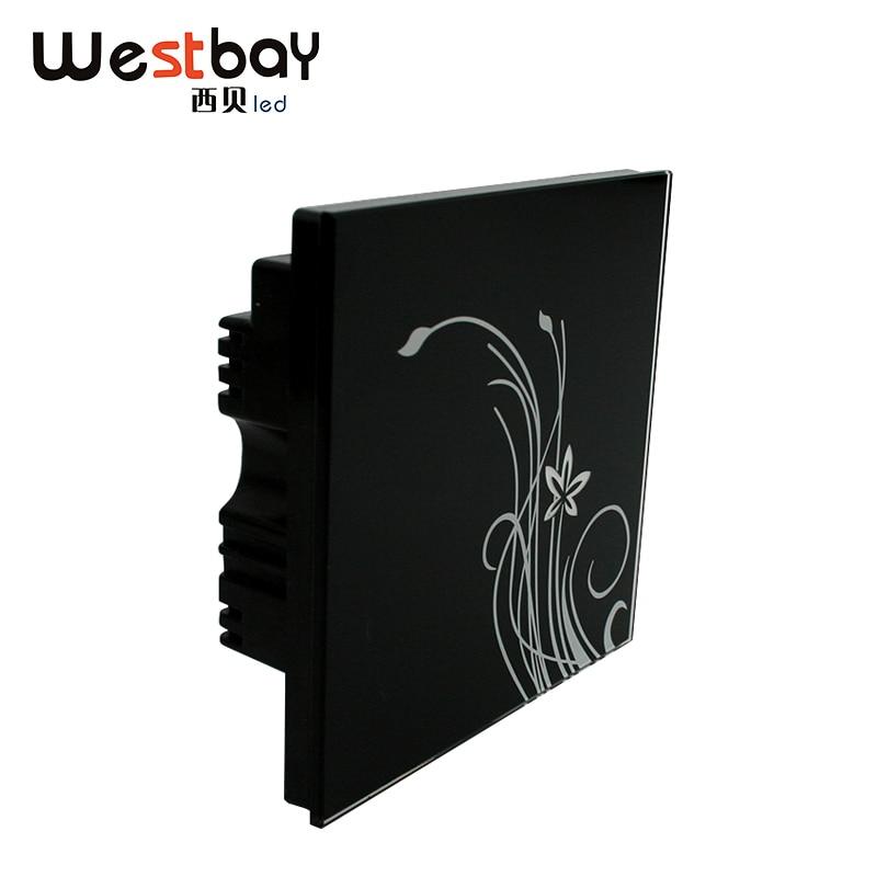 Interruptor táctil Westbay 1 Gang 2 Way Color negro interruptor de pared a prueba de humedad AC110-260V interruptor de luz de vidrio templado de alta calidad