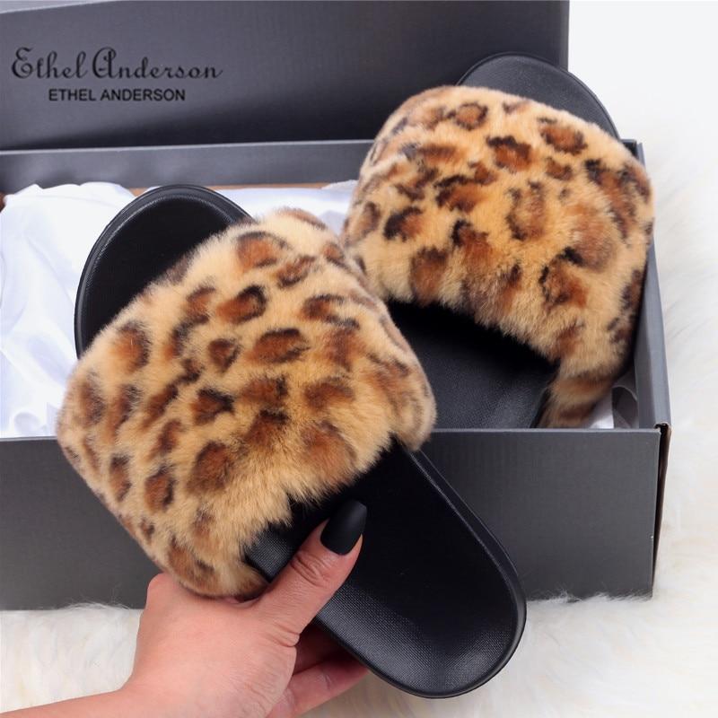 Ethel Anderson Newest Real Rex Rabbit Fur Slippers Summer Vogue Leopard Slides Cozy Slip on Flats Fur Shoes