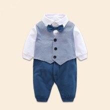 Barboteuse en coton à manches longues   Pour bébés hommes, modélisation, combinaisons à manches longues cinq étoiles rayées, pour bébés, tissu infantile, collection automne