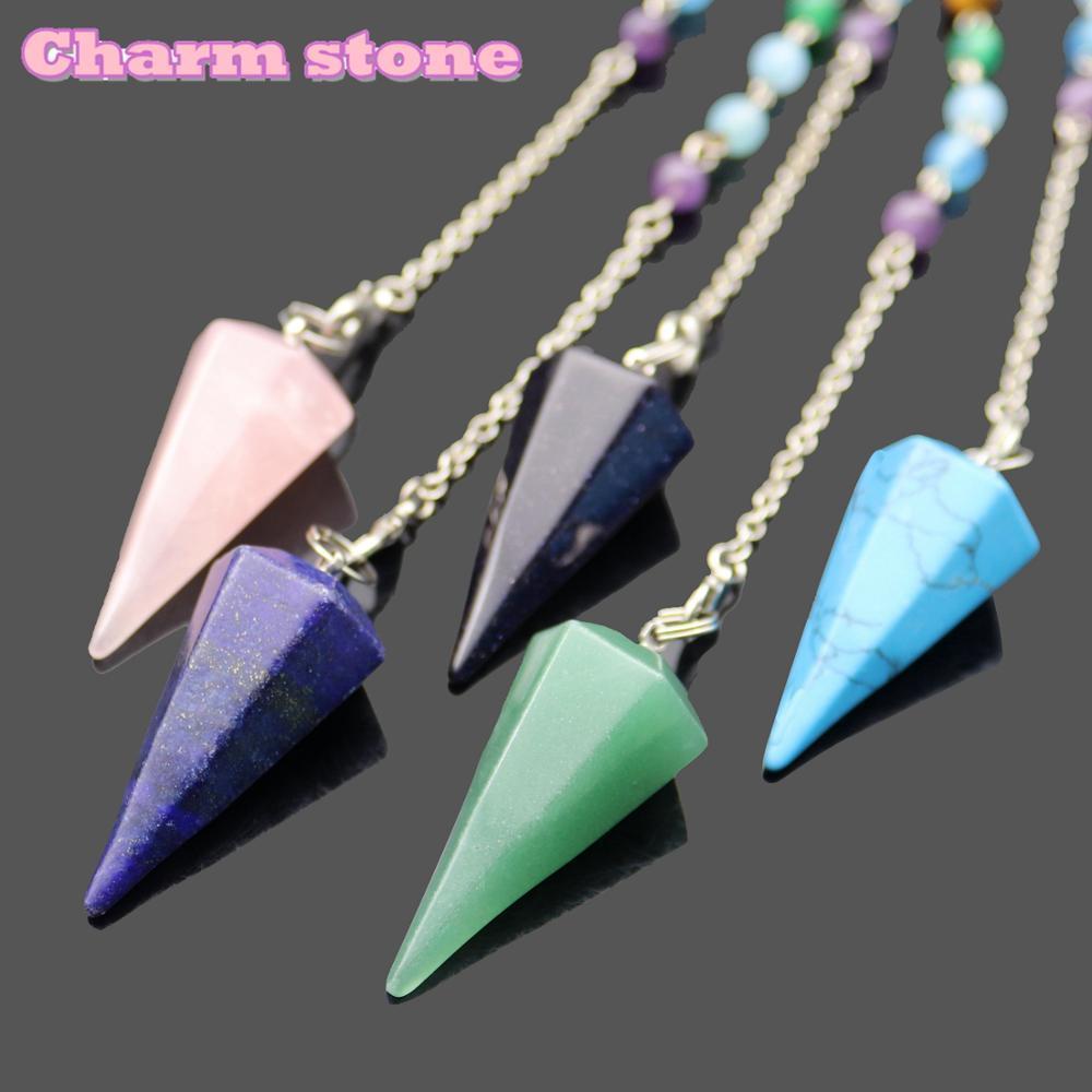 Arc-en-ciel hexagone cône 7 Chakra pierres en couches bijoux de mode pendules spirituelles Dowsing Reiki guérison cristal hexagone balle