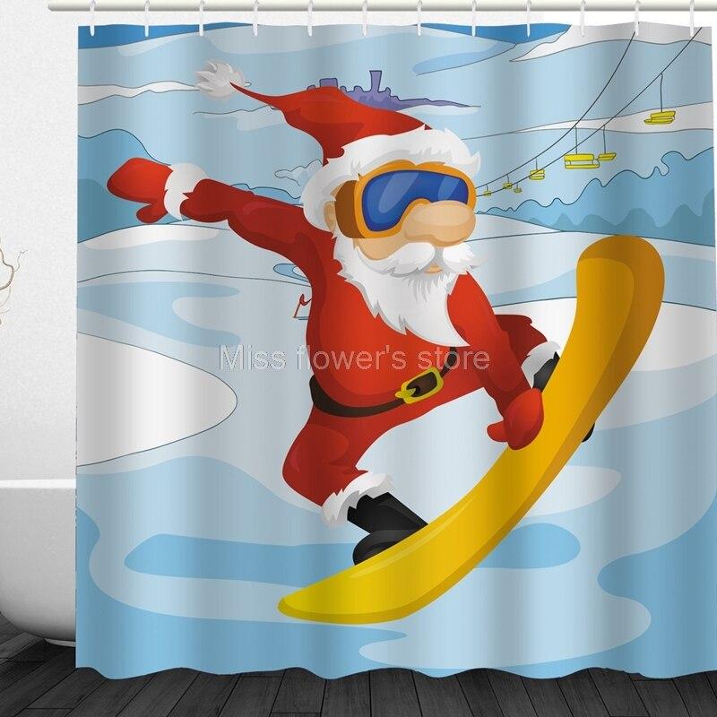 Cortinas de ducha personalizadas para baño, diseño de fútbol de Papá Noel,...