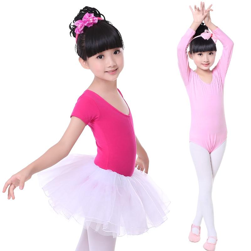 Hot Sale Pink Long/Short Sleeve Cotton Kids Children Toddler Dance Leotard Girl Gymnastics Leotard For Girls