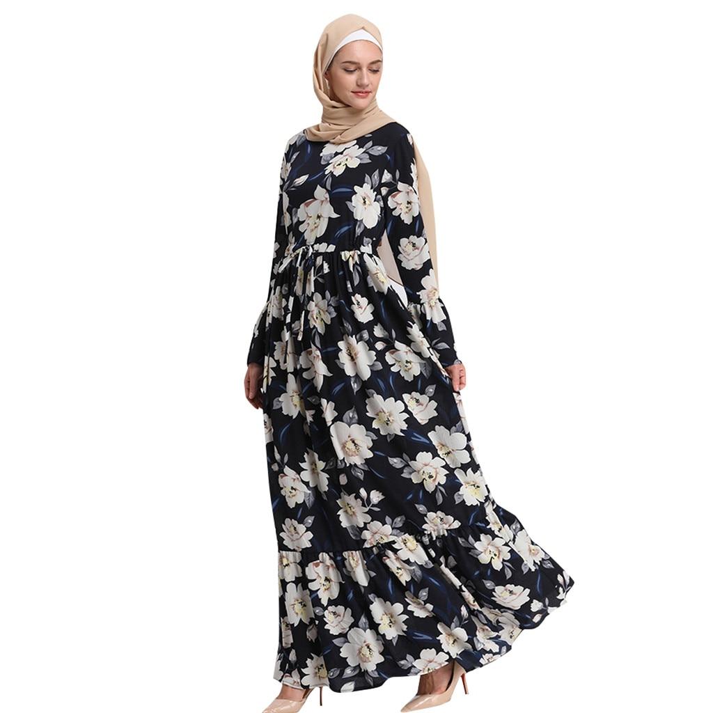 Túnica musulmana de talla grande para mujer Vestido de manga larga para mujer vestido largo Maxi bata Abaya flor islámica Dubai Cardigan Ramadan A426