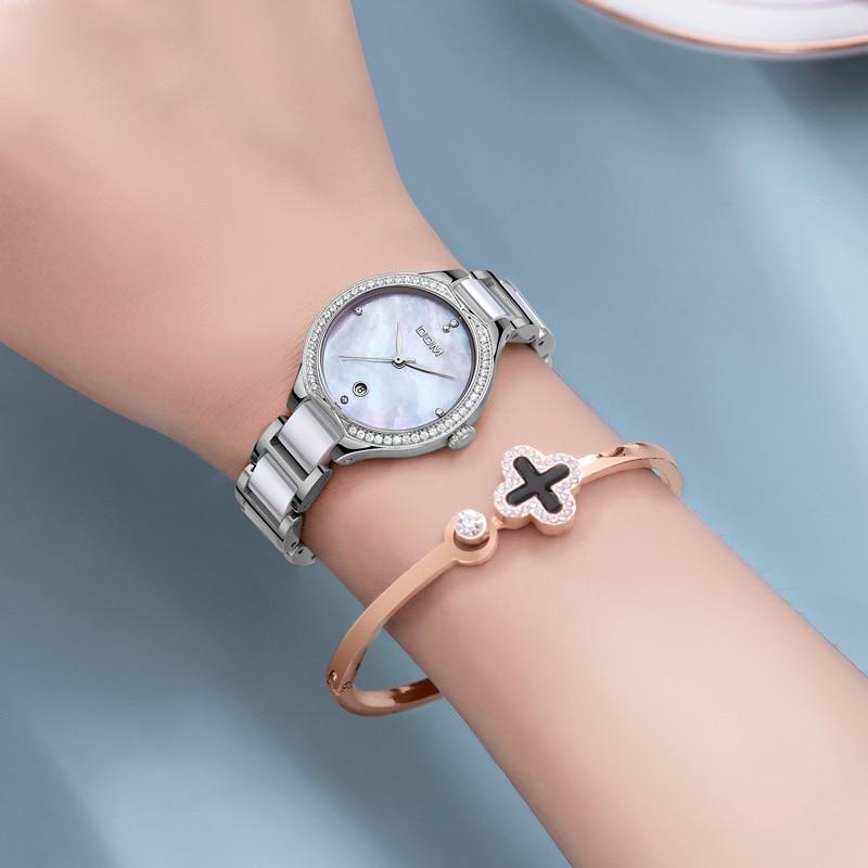 DOM Women Wrist Watches Fashion Ceramics Watchband Diamond Watch Top Luxury Brand Dress Ladies Geneva Quartz Clock G-1271D-7M enlarge