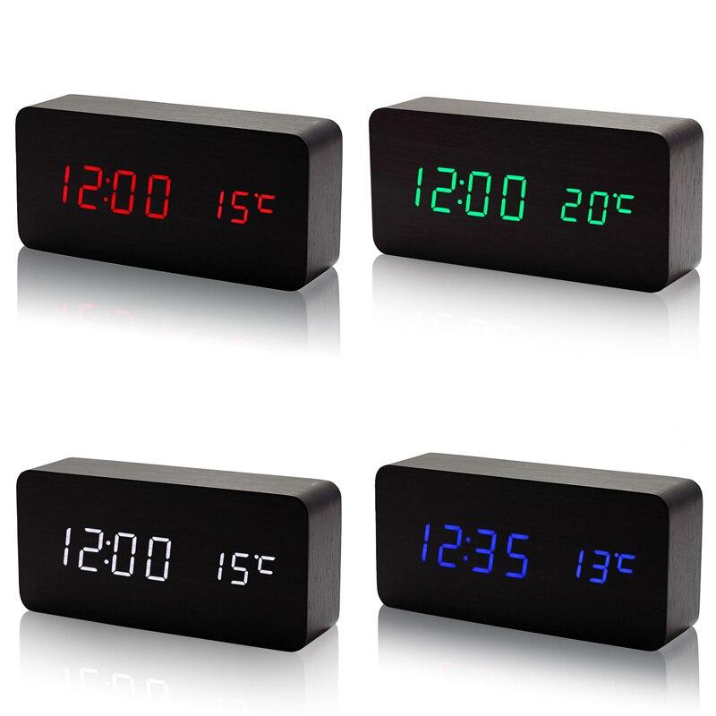 Madeira led despertador com controle de sons temperatura display led eletrônico mesa digital relógios qj888