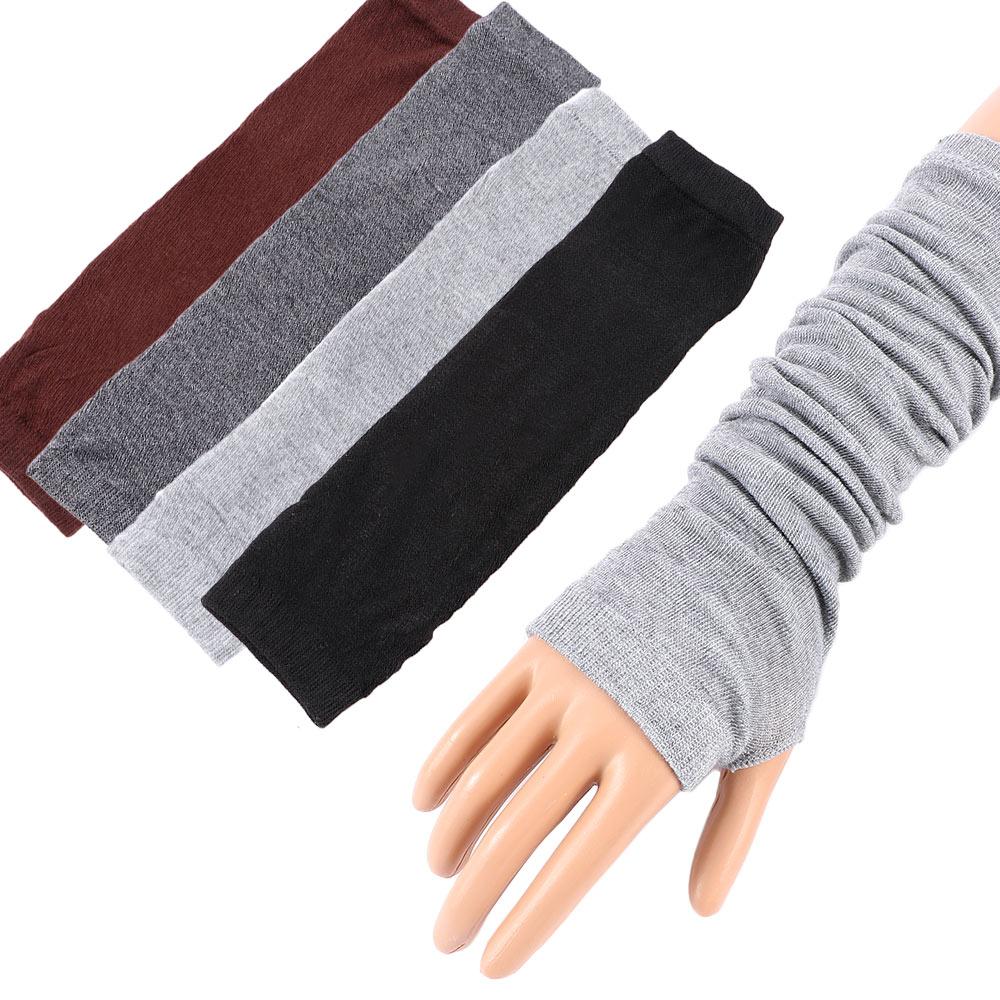 Knitted Long Fingerless Mittens Glove Arm Warmer Stretchy Mitten Unisex Crochet Half Finger Long Gloves Hot Selling Women S Gloves Aliexpress