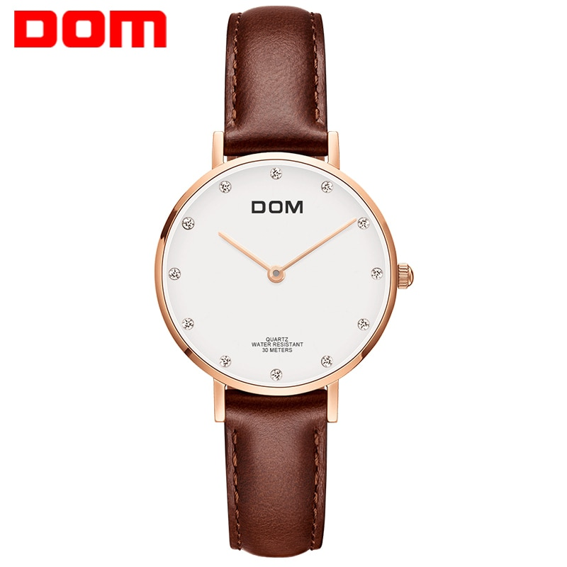 Watch Women DOM Top Brand Luxury Quartz watch Casual quartz-watch leather Mesh strap ultra thin clock Relog G-36GL-7M enlarge