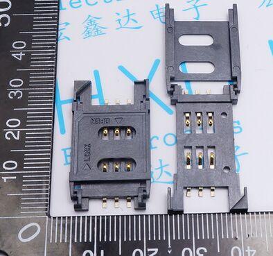 Connecteur de carte SIM 6P 2.5 pitch   Clapet en plastique, pont de communications pour téléphone portable, livraison gratuite