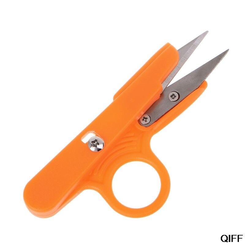 Tijeras de corte de hilo a juego para coser, tijeras de hilo de pesca de costura cruzada, herramienta especial de mano con mango de plástico en forma de U, 25 de junio