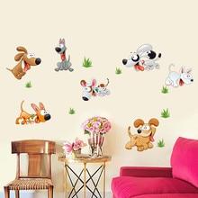 Glücklich Hund Wand Sticers Abnehmbare Vinyl Kindergarten Kinder Baby Kind Schlafzimmer Home Decor art Mural DIY Tapeten
