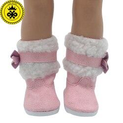Menina boneca sapatos se encaixa 18 polegada boneca vermelho branco botas rosa botas de neve acessórios boneca sapatos 522