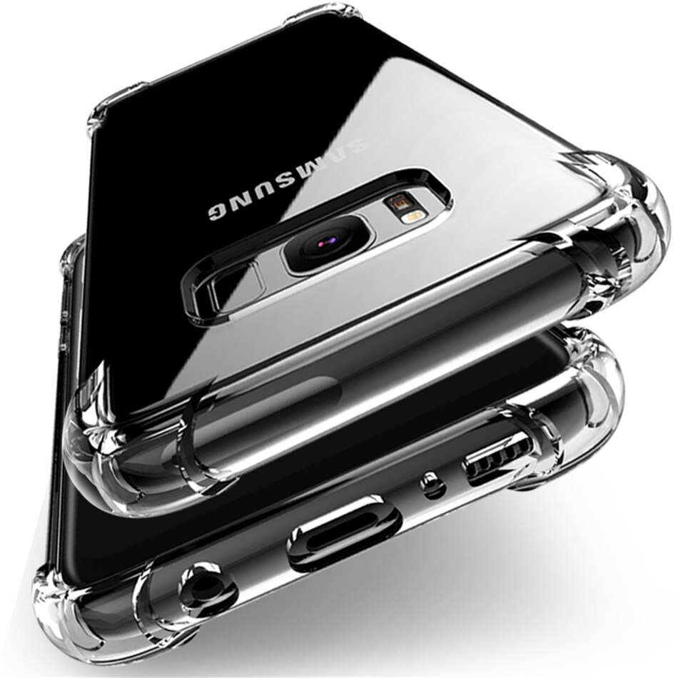 Para Samsung Galaxy S20 Ultra S10e S10 S9 S8 Plus S7 Edge Note 10 Lite Note 9 8 5 capa almofada de ar cristal tpu gel silicone capa