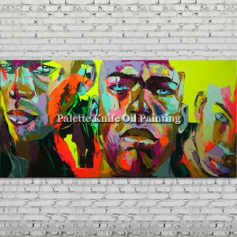 Retrato hecho con paleta cara pintura de un personaje al óleo figura canva Francoise Nielly pintado a mano cuadro de Arte de pared para sala de estar 64