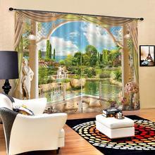3d blackout curtain Garden pattern curtain digital printing Waterproof sunscreen for living room decoration Blockout Oct25