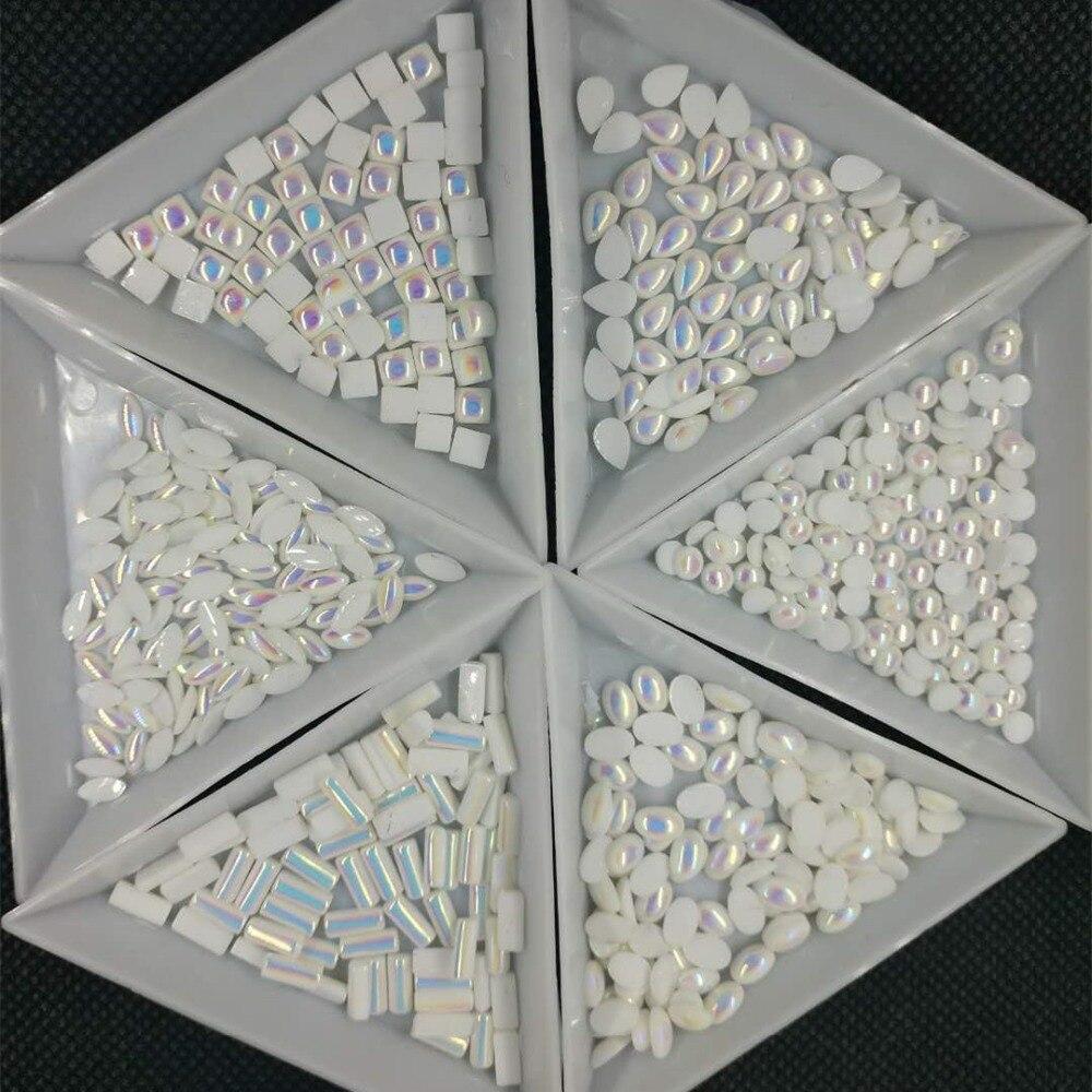 100 Uds AB perlas semicirculares/sirena halo perlas nail deco/3D ombre blanco AB decoración de uñas con perlas/arco iris de unicornio perla, 6 formas, H6