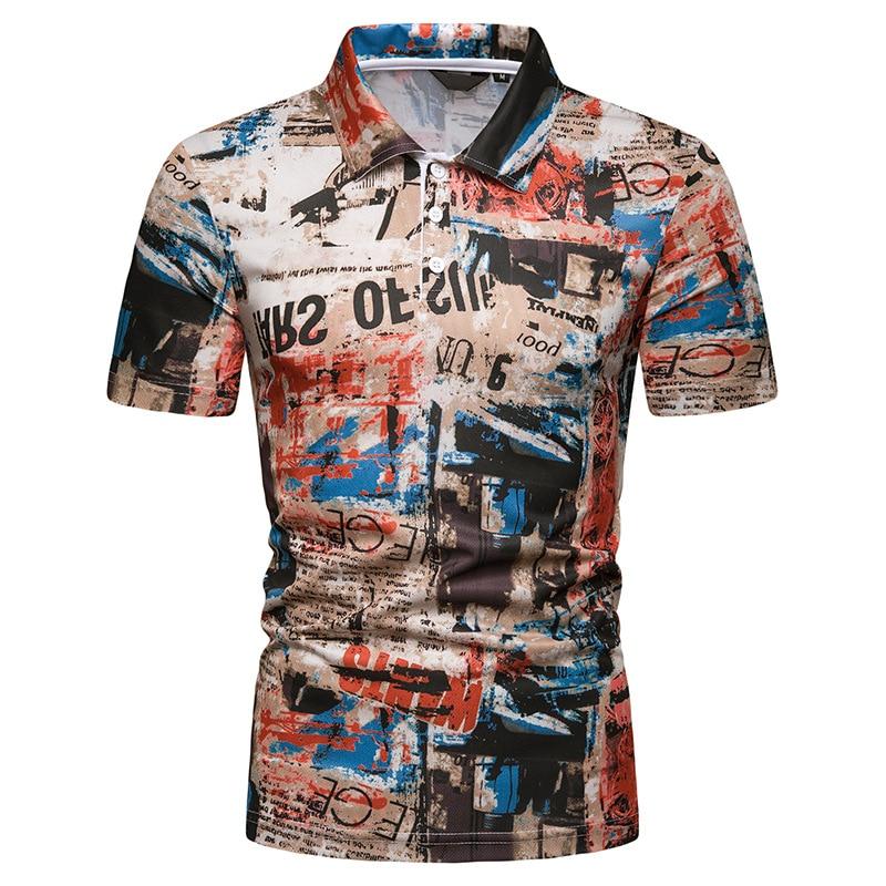 men polo shirt Summer Beach Hawaiian Printed short sleeve POLO fashion slim fit mens clothes Casual Holiday Vacation polos