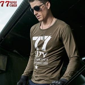 QIQICHEN 2020 Summer Letter Military Army T Shirt Men Cotton Long sleeve Spring Autumn Tshirt men Plus Size 6XL tee shirt homme