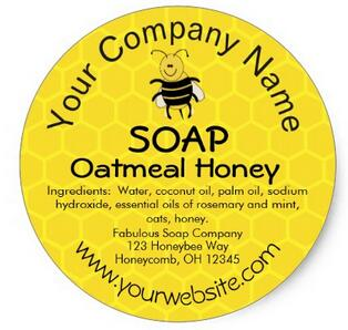 ملصقات صابون مخصصة, 1.5 بوصة ، عسل ، نحل ، قرص العسل