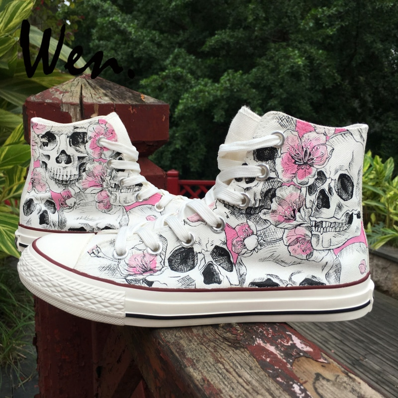 Wen Design Custom Sketch Skulls Pink Flowers Floral Unisex Adult Canvas Sneakers Hand Painted High Top Skateboard Shoes