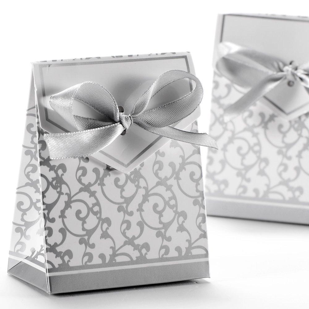 50x Boite a Dragee аксессуары для свадебных украшений, стол для крещения, цветы, Подарочная коробка, серебряные модные подарочные коробки