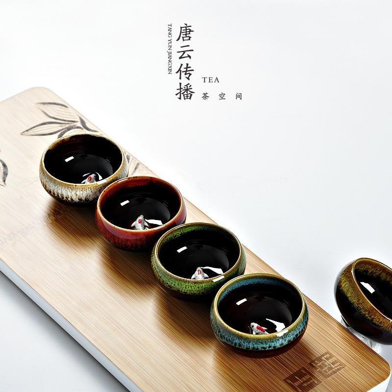 Tangyunjiangxin Kung Fu Jun Jiao Ceramic Tea Cup Small Cup  45ml and 50ml Two Size Individual Masters Cup Pu'er Tea Cup C