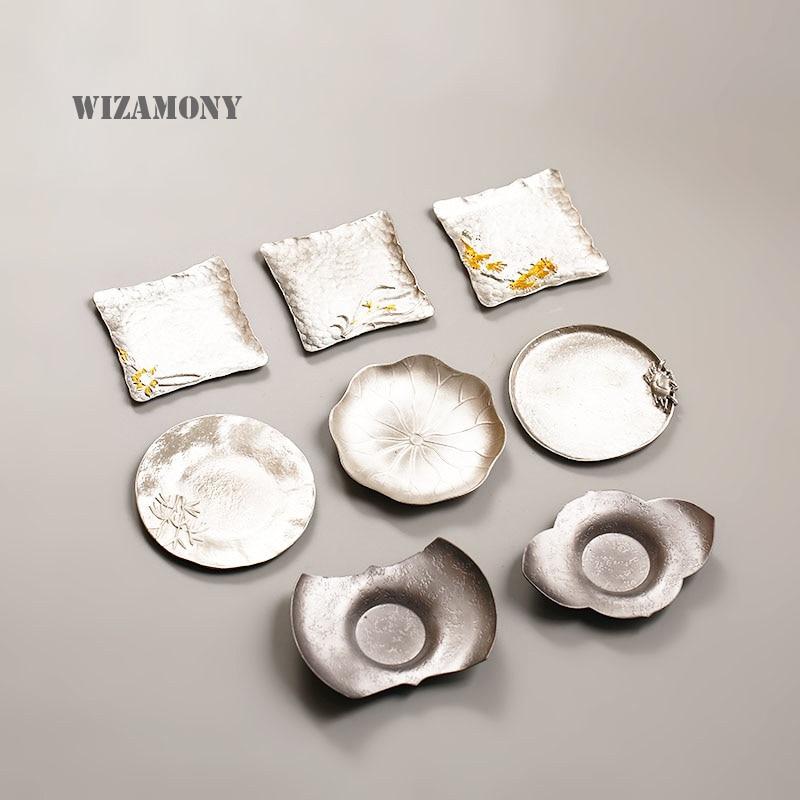 WIZAMONY 1pcs Purely Handmade Chinese Deck Tin Tea Saucers Tea Tray Heat-Insulating Tea Set Small Plate High Quality
