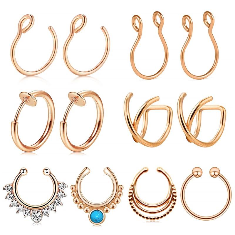 JFORYOU 12PCS Stainless Steel Ear Cuff Ear Clips Non Piercing Cartilage Earrings Fake Nose Lip Suptum Ring Set for Men Women