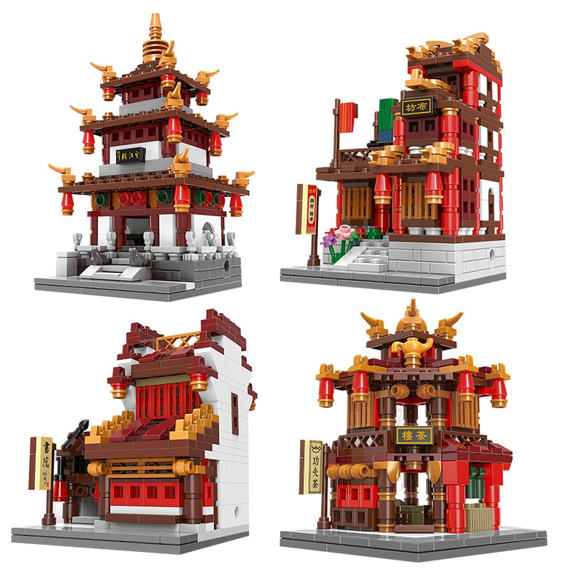 XINGBAO ZHONGHUA STREET 01102 serie de edificios WangJiang Torre tela casa biblioteca té casa ladrillos figura juguetes para regalo de niños