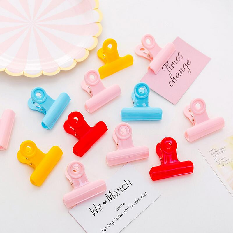 4.8x4.3cm 5pcs Test Paper Finishing Clip Student Plastic Ticket Snack Long Tail Clip Office School Binding Supplies Clips