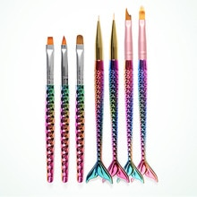 7 pièces Nail Art sirène pinceau français lune ombrage stylo peinture dessin conseils acrylique Gel UV vernis Design manucure outils