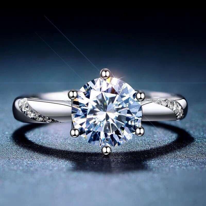 MeiBaPJ 925 خاتم مويسانيتي فضي للنساء D لون قيراط سوبر رائجة البيع مقارنة بالماس الحرفية الرائعة