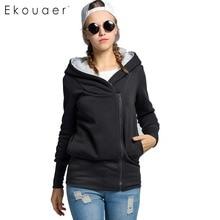 Ekouaer Frauen Hoodie Mantel Mode Herbst Winter Warme Kapuzen Jacke Zipper Jacke Damen Sweetshirts Oberbekleidung 6 Farben