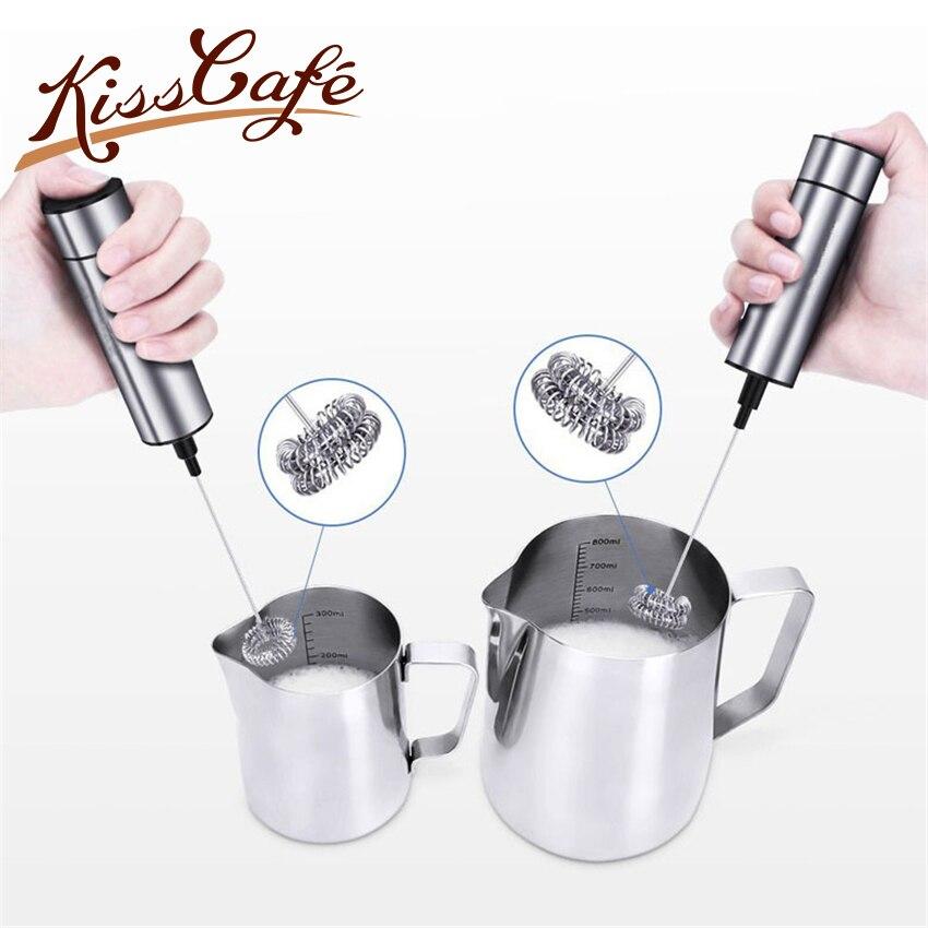 Batidor de doble resorte de acero inoxidable, batidor eléctrico de leche, Espumador de leche portátil, mezclador de bebidas para café capuchino