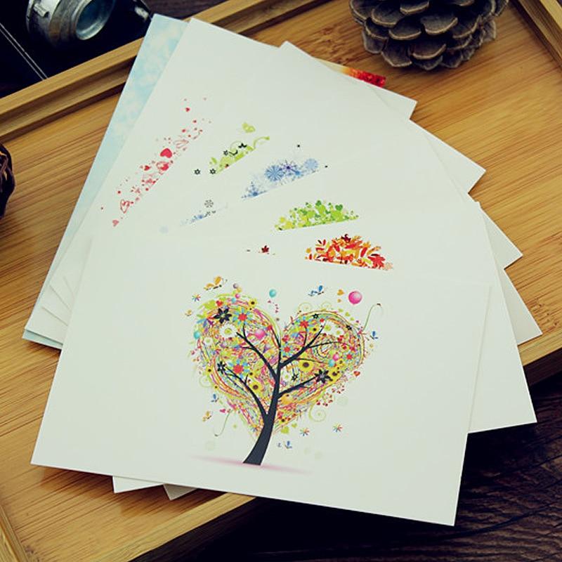 """7 листов утолщаются творческие красочные """"Love tree"""" Набор открыток/подарок поздравительная открытка Ассорти/День рождения карты Лот карта сообщения"""