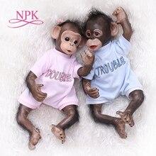 NPK جديد 40 سنتيمتر اليدوية والرسم مفصلة وظيفة تولد من جديد الطفل القرد انسان الغاب في أسود النادرة الفن عالية الجودة دمية