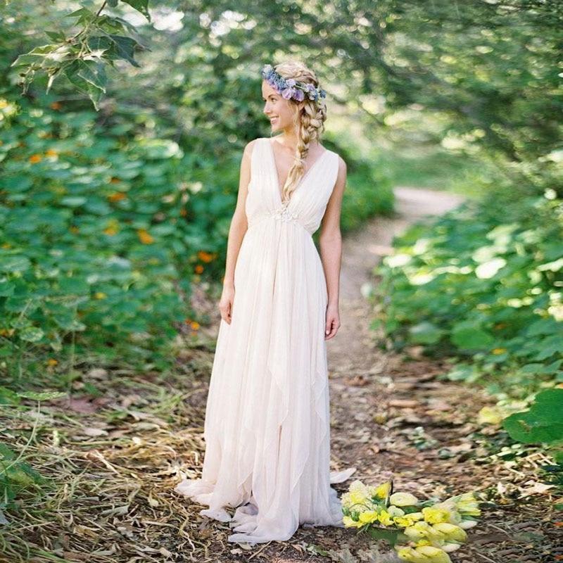 فستان زفاف بوهيمي عتيق مع ظهر مكشوف وفتحة رقبة على شكل V ، فستان زفاف على الطراز البوهيمي مع آلهة اليونانية ، فستان صيفي