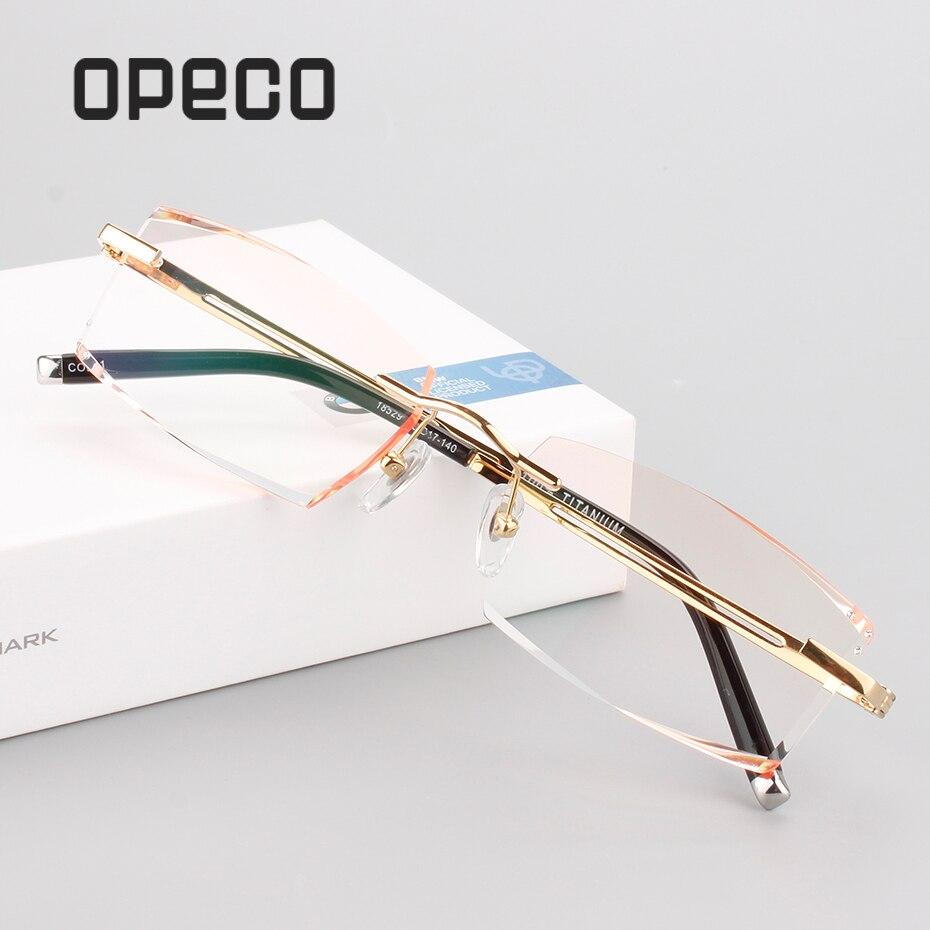 Opeco-نظارات طبية من التيتانيوم الخالص للرجال ، نظارات بدون إطار لقصر النظر