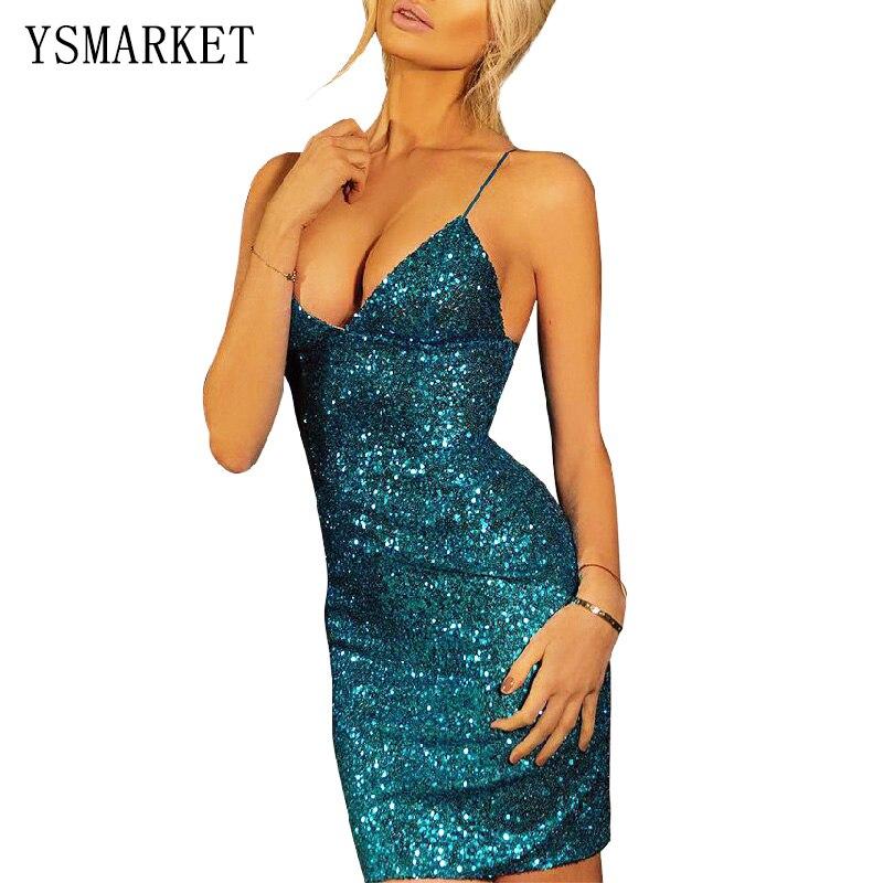 Lantejoulas de Ouro Mini Vestido Das Mulheres Do Partido Do verão Brilhante Sem Mangas Azul Vermelho Spaghetti Strap V Neck Lantejoula Hetero Vestido H2139