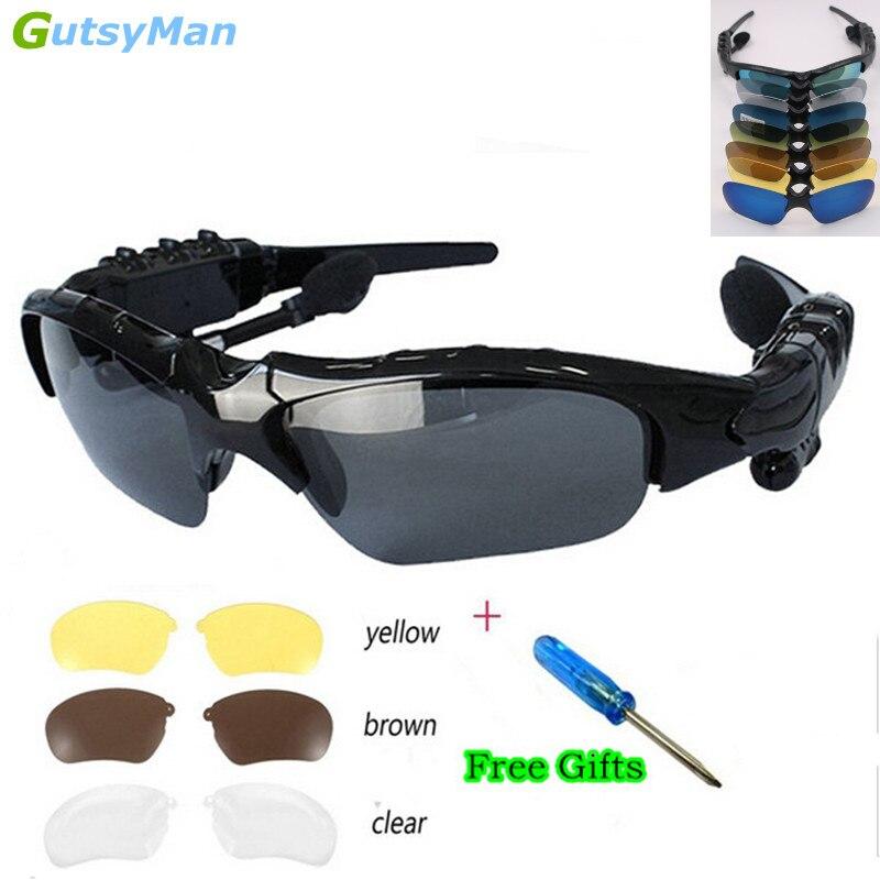 Gutsyman moda esportes estéreo sem fio bluetooth 4.1 fone de ouvido telefone polarizado condução óculos de sol/mp3 equitação olhos
