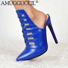 Personnaliser Plus grande taille 34-47 bleu mode Sexy talon haut printemps automne filles femme dame Mules chaussures femmes pompes D1172