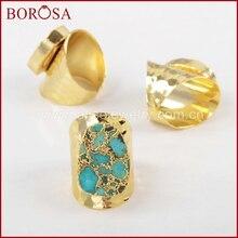 Borosa ouro cor 100% natural azul pedra banda anel, drusy pedra natural anéis druzy jóias g1284
