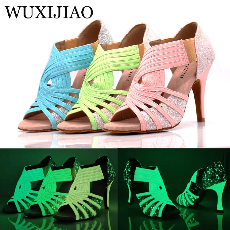 Latin dance shoes women's wide with blue pink green fluorescent PU flash cloth salsa dance performance ballroom dance shoes