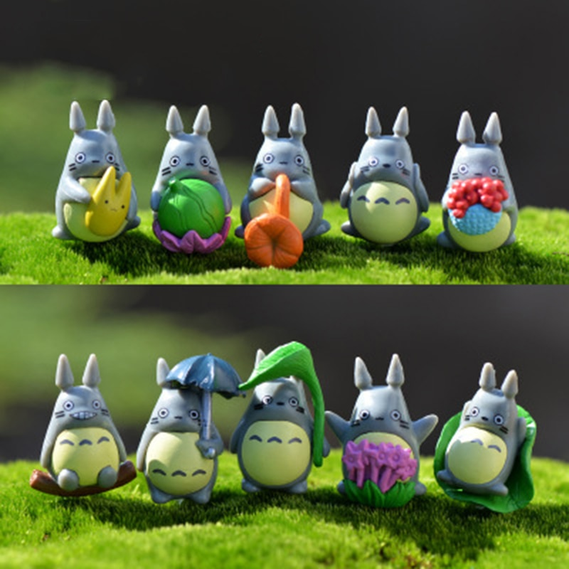 ZOCDOU 10 Pieces Tonari No Totoro Japan Anime Cartoon Cat Small Pasture Statue Figurine Crafts Ornament Miniatures Home Decor