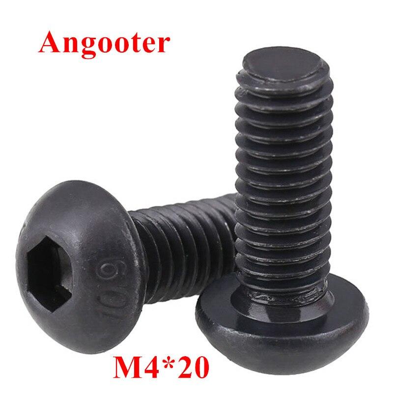 100 stücke ISO7380 M4 * 20 Schwarz Stahl 10,9 grade Runde Kopf Schrauben M4x20 Hex Buchse Taste Kopf Kappe Schraube schrauben Schrauben