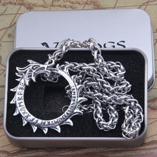 2018 nordique Vikings végétvisir rond dragon pendentif collier pour hommes cadeau avec chaîne en acier inoxydable