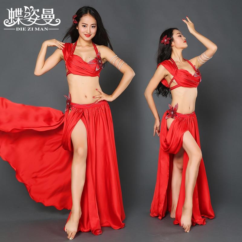 Dance Performance Women Dancewear Professional Outfit Bra top+Skirt Belly Dance Costume YC003