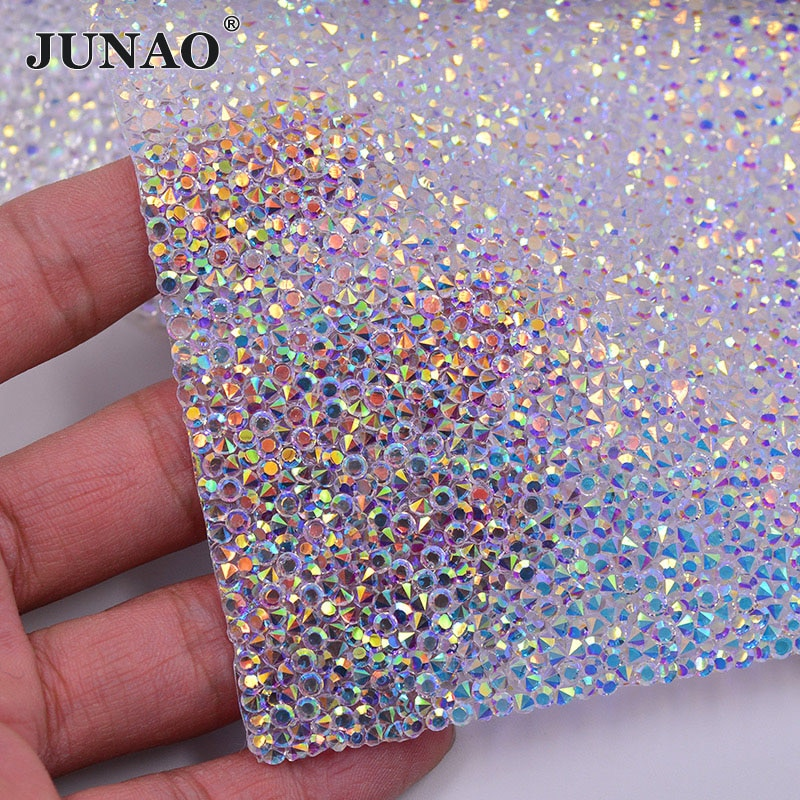 Junao 24*40cm hotfix cristal ab strass folha de tecido cristal malha guarnição resina apliques glitter strass banda para diy vestido