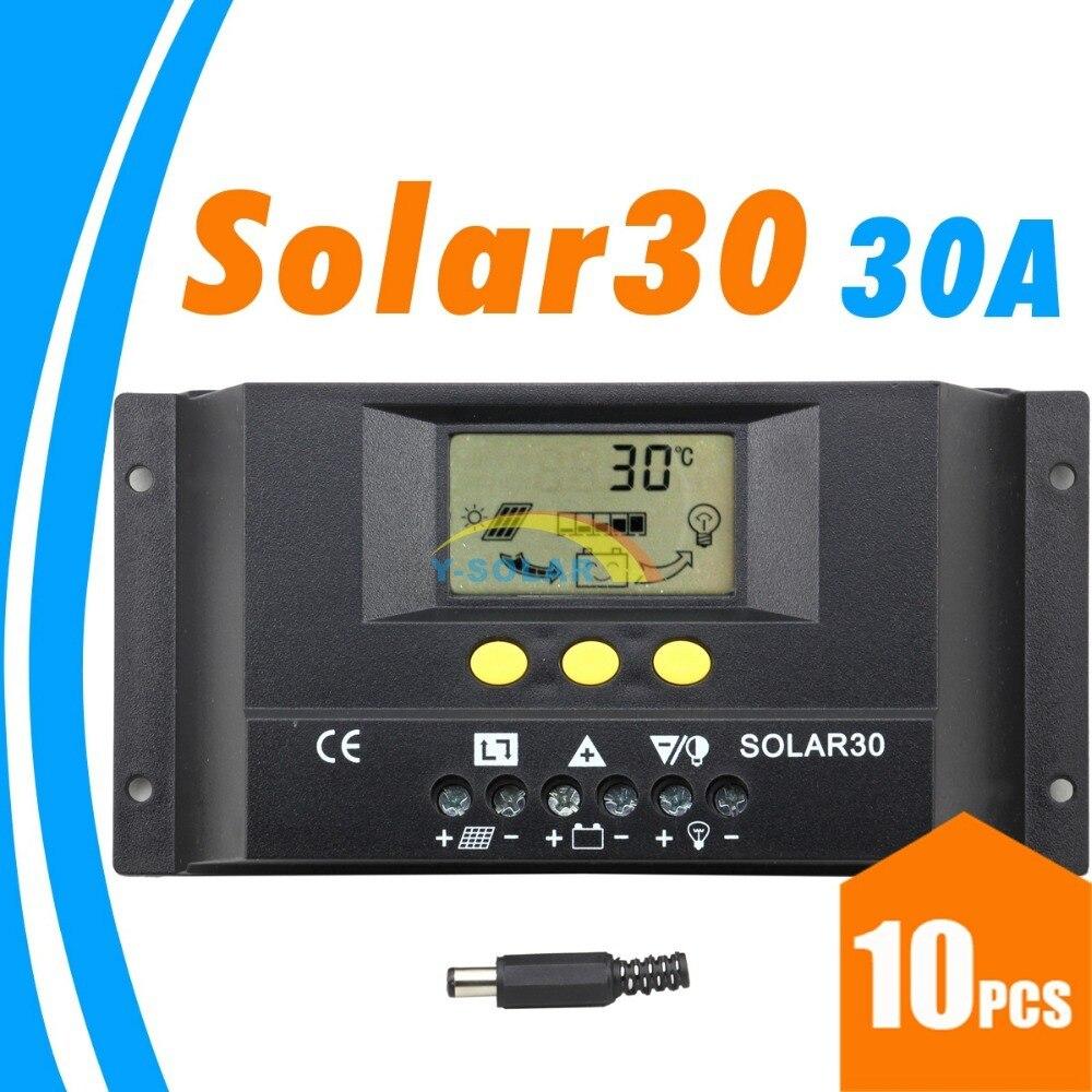 10 قطعة 30A جهاز تحكم يعمل بالطاقة الشمسية PV لوحة شاحن بطارية 12 فولت 24 فولت النظام الشمسي المنزل داخلي استخدام SOLAR30 الشمسية 30